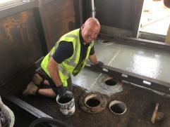 Upper Saloon flooring - beams, priming & floorboards! (1)