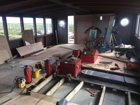 Upper Saloon flooring - beams, priming & floorboards! (2)