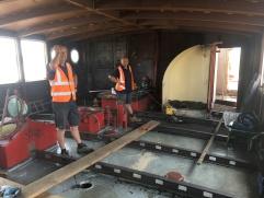 Upper Saloon flooring - beams, priming & floorboards! (5)