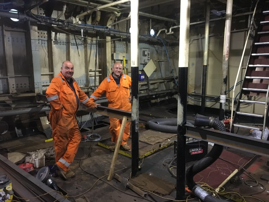 First new engine room floor beam in