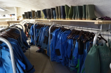 Trinity's sailing kit store within the 'whaleback', constructed on the foredeck.